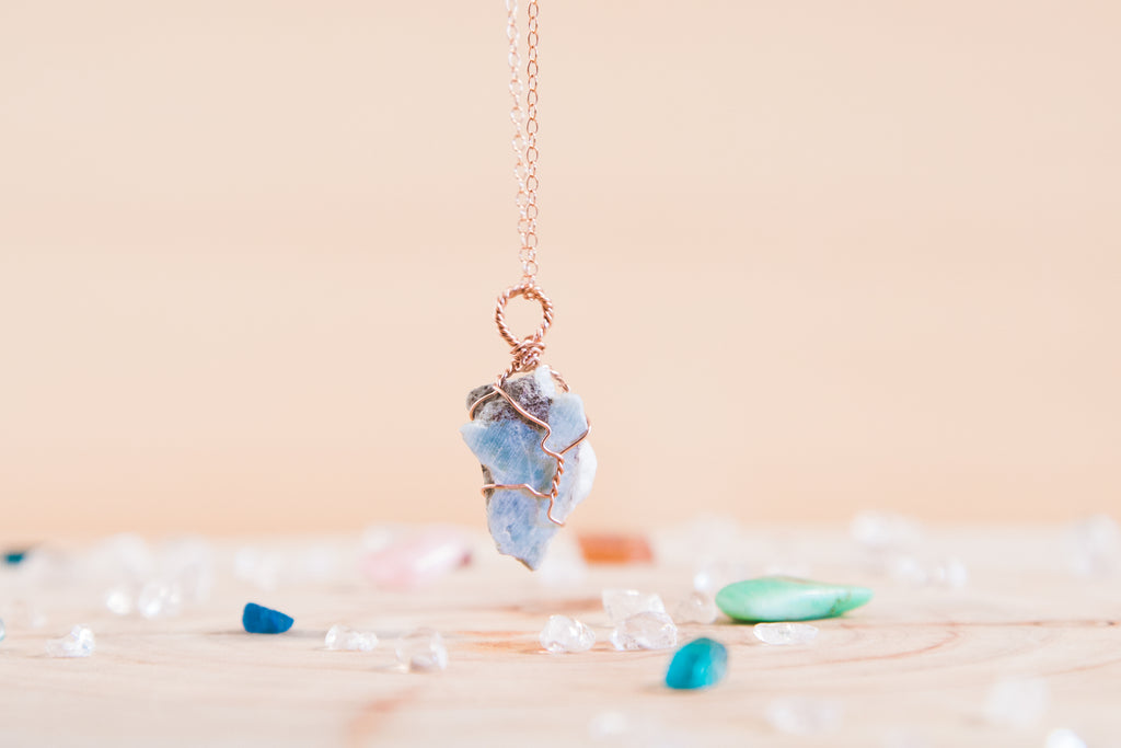 Larimar dainty necklace // 14k rose gold fill