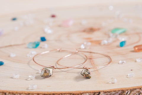 Pyrite Selene Hoops | Rose gold