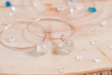 Fluorite Selene Hoops | Rose gold