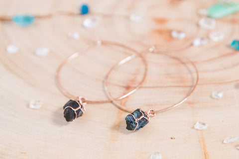 Black Tourmaline Selene Hoops | Rose gold
