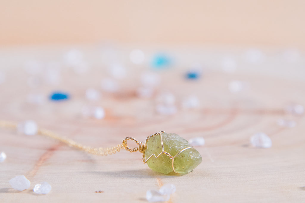 Peridot dainty necklace // 14k yellow gold fill