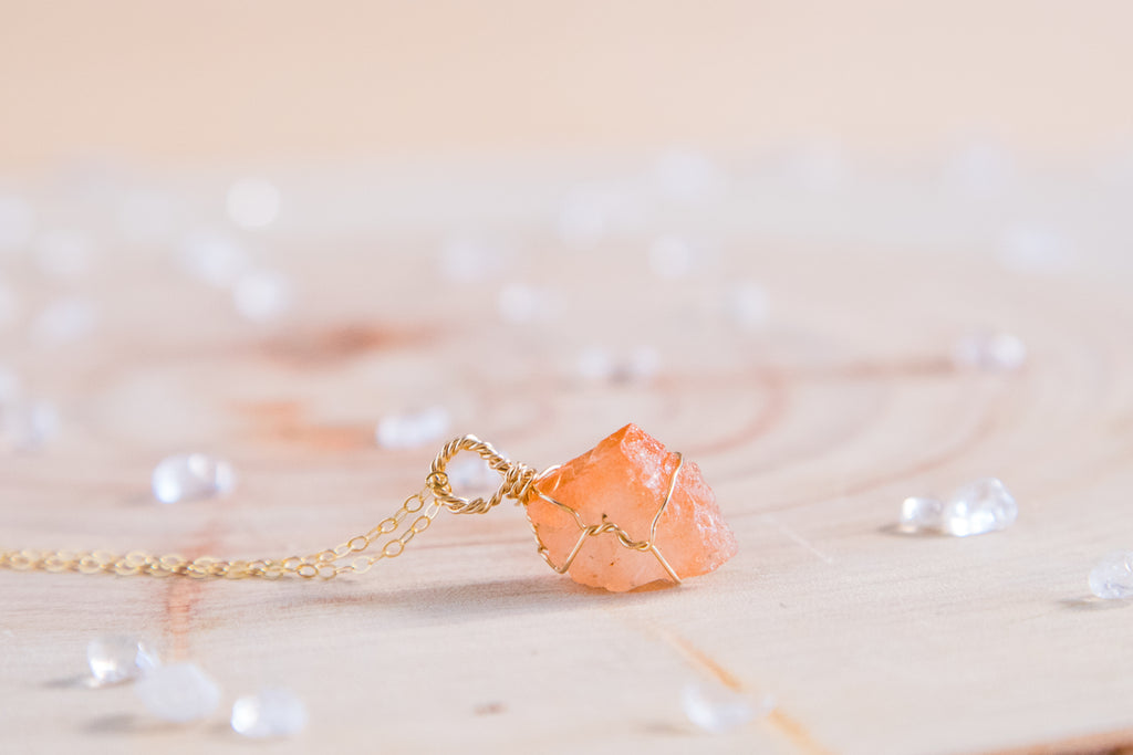 Sunstone dainty necklace // 14k yellow gold fill