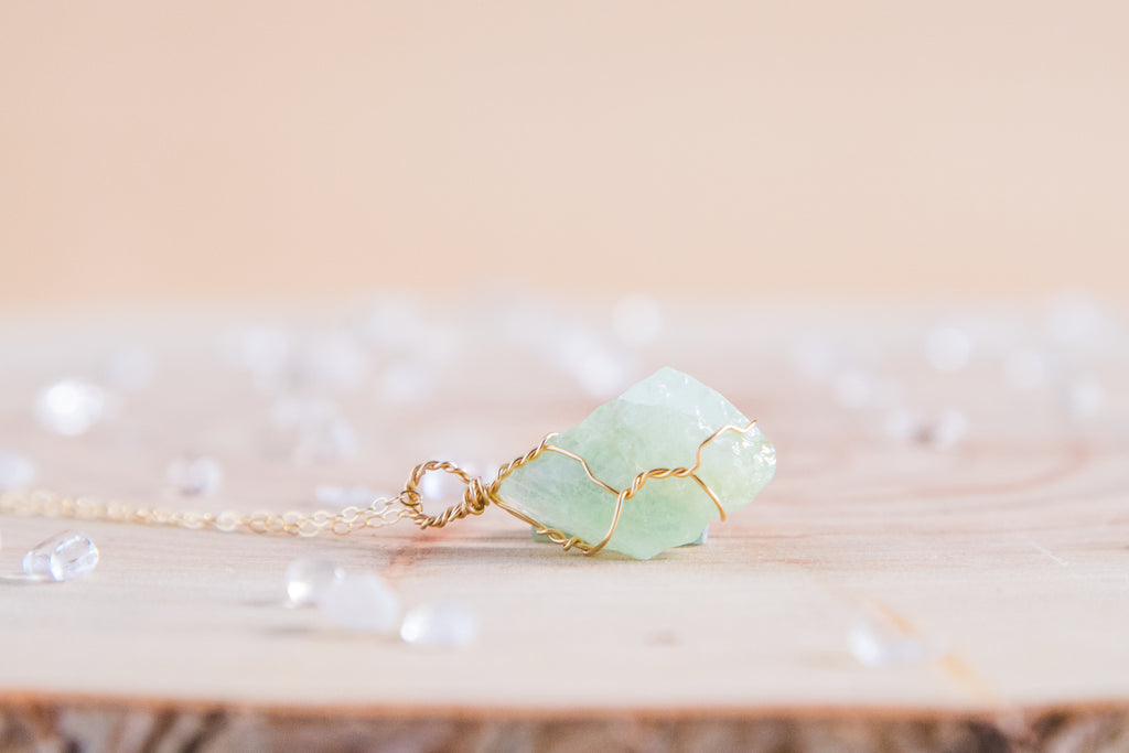 Green Calcite dainty necklace // 14k yellow gold fill