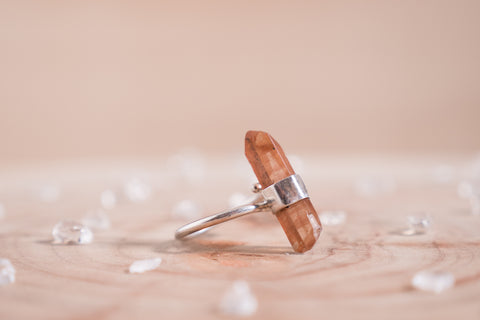 Tangerine Quartz adjustable ring