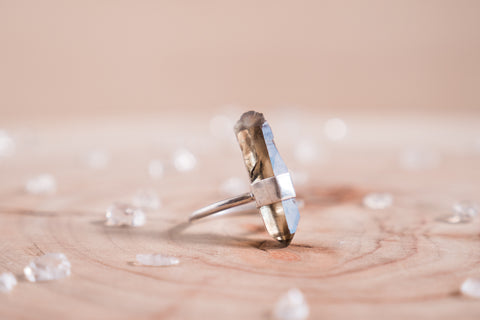 Smoky Quartz adjustable ring
