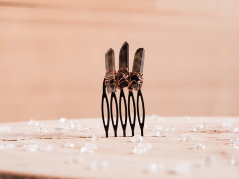 Smoky Quartz Hair Slide
