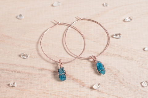 Apatite Selene Hoops // Rose Gold