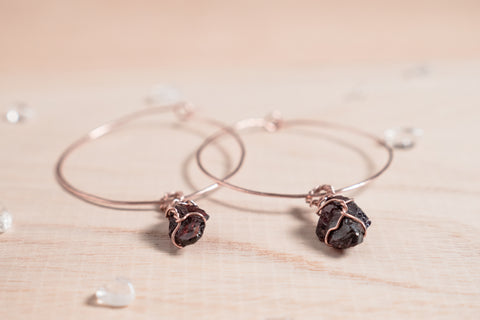 Garnet Selene Hoops // Rose Gold