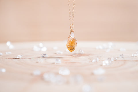 Citrine dainty necklace // 14k yellow gold fill
