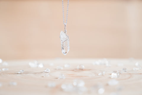 Clear Quartz dainty necklace // Sterling silver