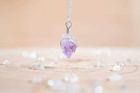 Amethyst dainty necklace / sterling silver