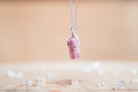 Pink Tourmaline dainty necklace // Sterling Silver