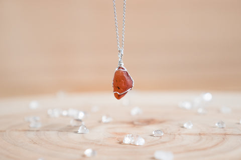 Carnelian dainty necklace / sterling silver