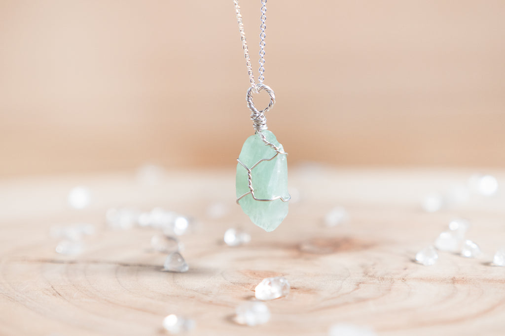 Green Calcite dainty necklace // Sterling Silver