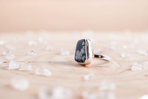Snowflake Obsidian stella ring // sterling silver
