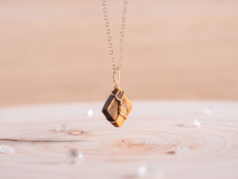 Tiger's eye dainty necklace | 14k gold fill