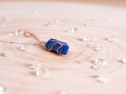 Lapis Lazuli dainty necklace // 14k rose gold fill