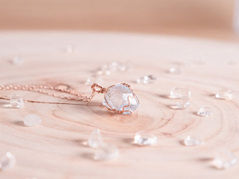 Celestite dainty necklace // 14k rose gold fill