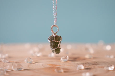 Moldavite dainty necklace // Sterling silver