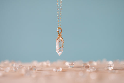Clear Quartz dainty necklace 14k yellow gold fill