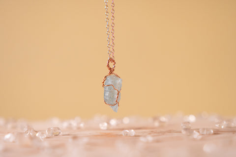 Aquamarine dainty necklace // 14k rose gold fill