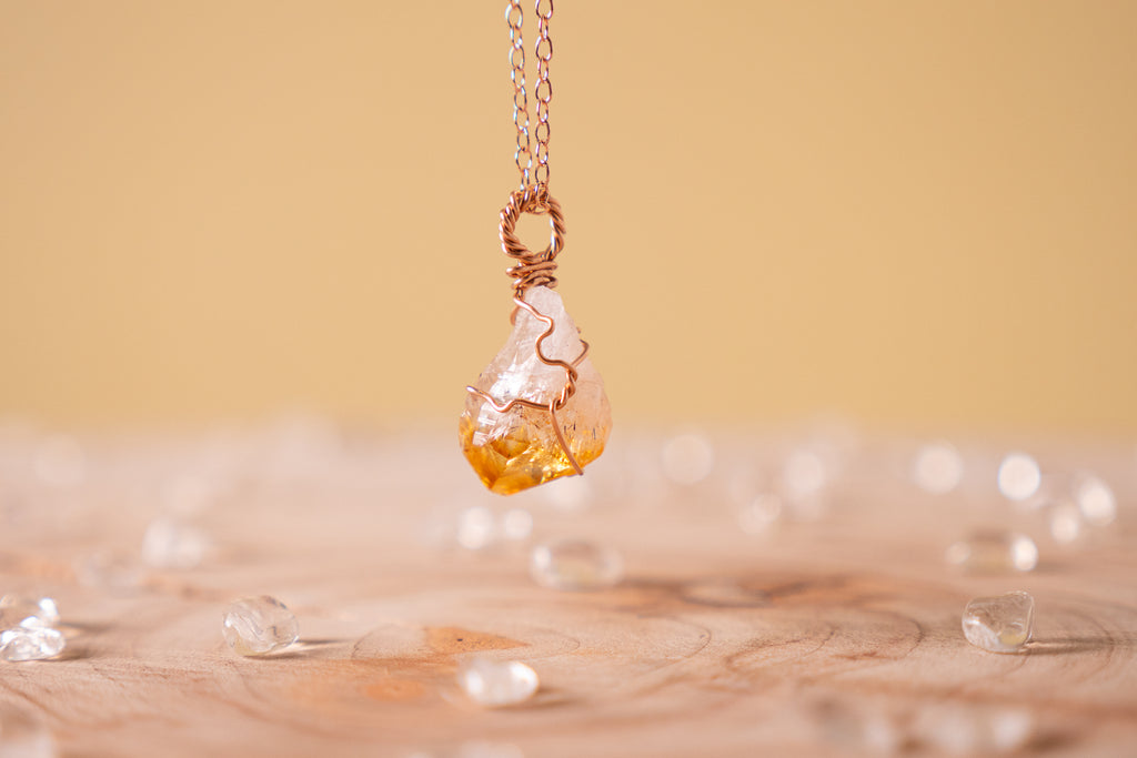 Citrine dainty necklace | 14k rose gold fill