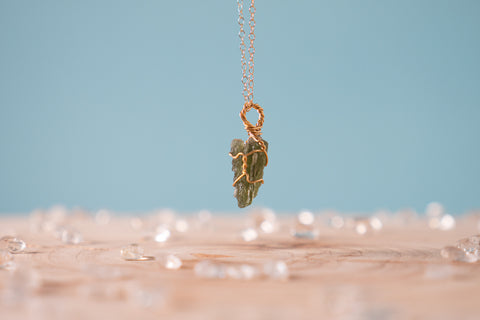 Moldavite dainty necklace // 14k yellow gold fill