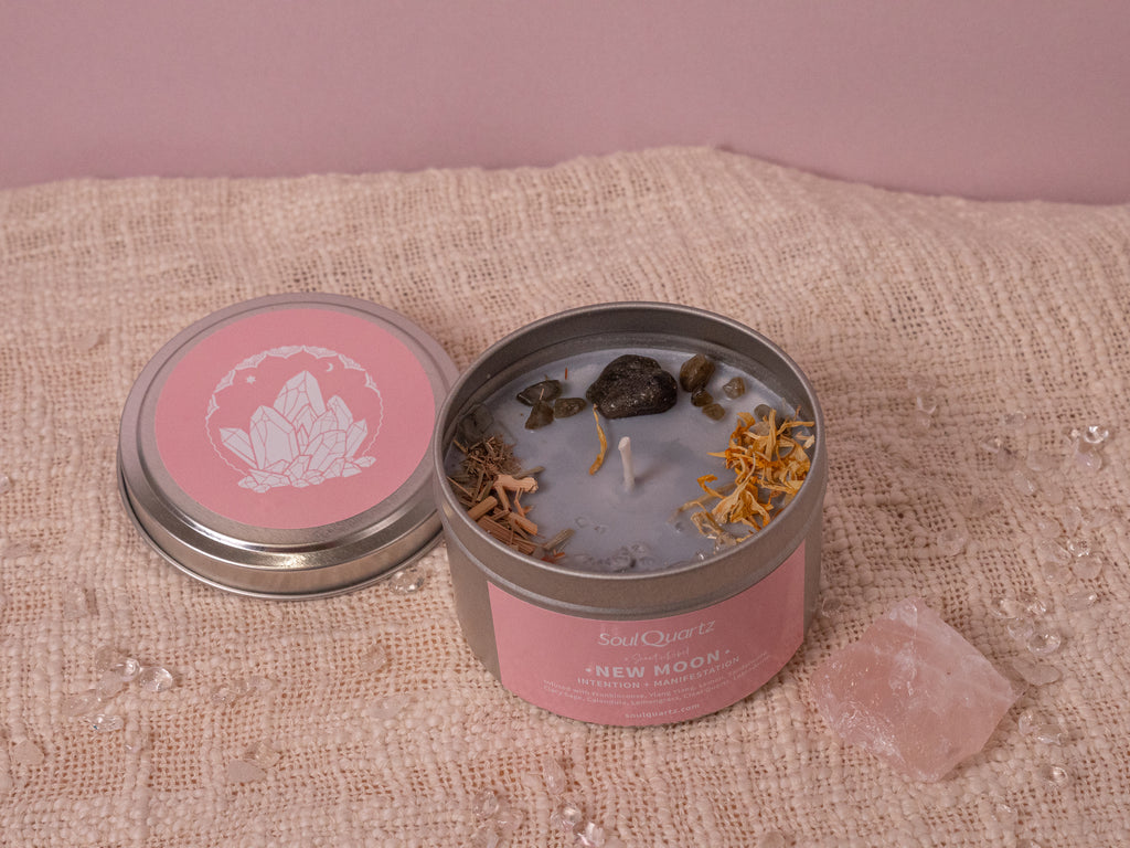 New Moon Crystal Candle