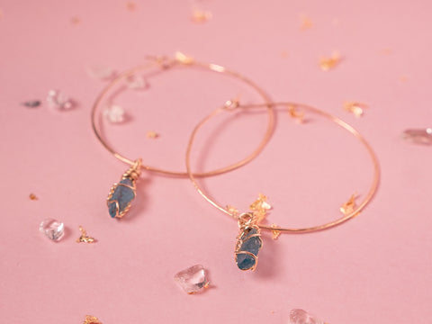 Apatite Selene Hoops // Yellow Gold