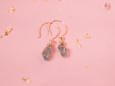 Apatite Drop Earrings // Yellow Gold