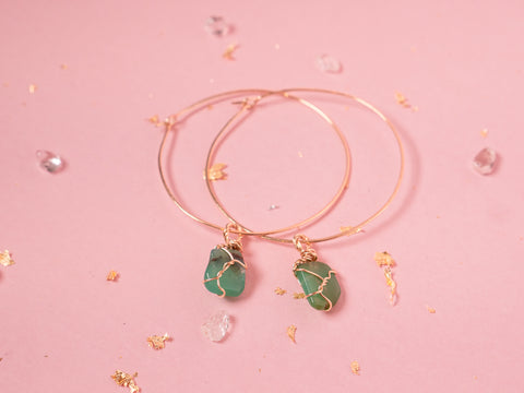 Chrysoprase Selene Hoops // Yellow Gold