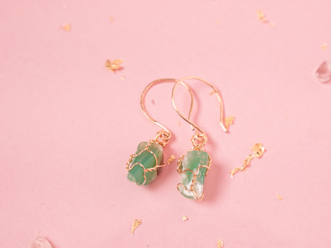 Chrysoprase Drop Earrings // Yellow Gold
