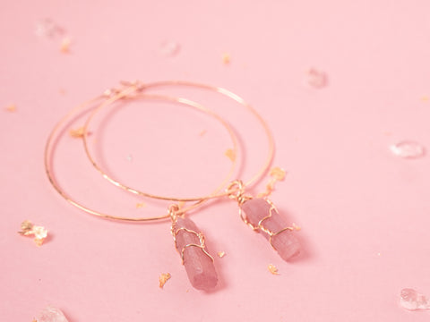 Pink Tourmaline Selene Hoops // Yellow Gold