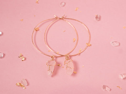 Rose Quartz Selene Hoops // Yellow Gold