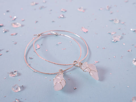 Rose Quartz Selene Hoops // Silver