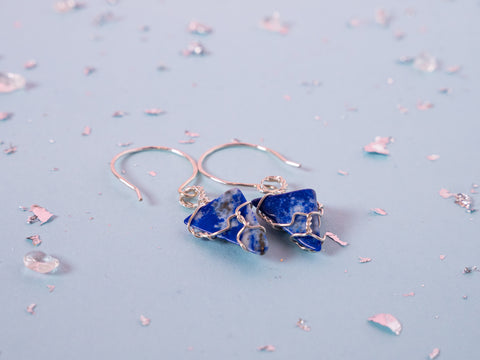 Lapis Lazuli drop earrings // Sterling Silver