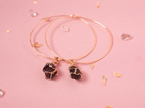 Garnet Selene Hoops // Yellow Gold