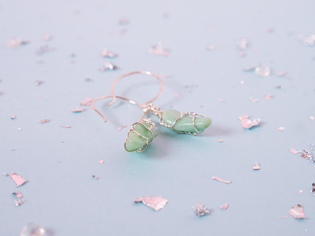 Chrysoprase drop earrings | Sterling silver
