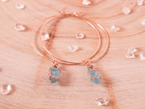Aquamarine Selene Hoops // Rose Gold