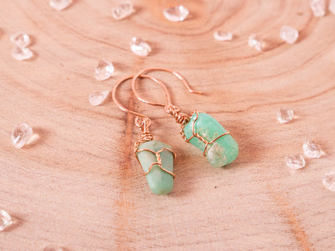 Chrysoprase drop earrings / Rose Gold