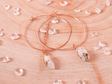 Moonstone Selene Hoops // Rose
