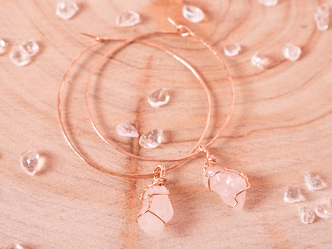 Rose Quartz Selene Hoops // Rose Gold