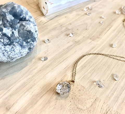 Herkimar Diamond dainty necklace | 14k Gold FIll