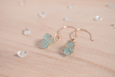 Aquamarine drop earrings / 14k gold fill