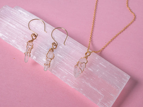 Clear Quartz - Goddess jewellery  set - 14k gold