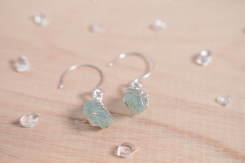 Aquamarine drop earrings / sterling silver