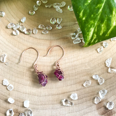 Pink Tourmaline drop earrings // 14k Gold fill