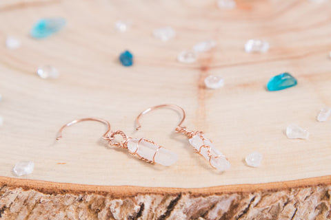 Clear Quartz drop earrings / Rose Gold