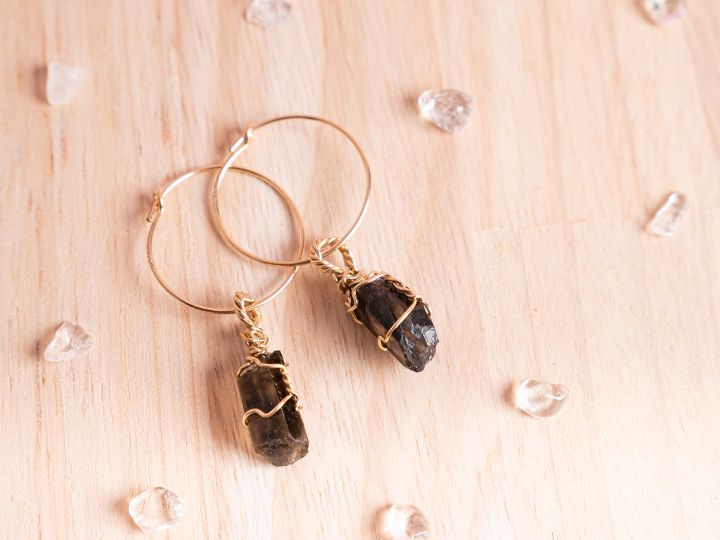 Smoky Quartz Maia hoops