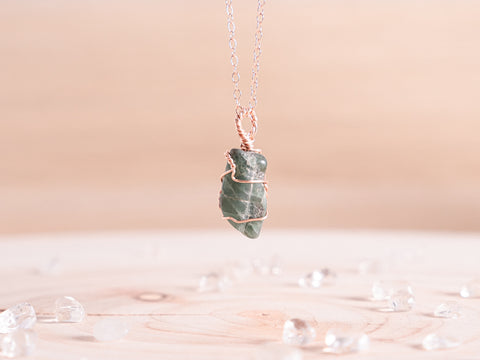 Emerald dainty necklace | 14k Rose Gold Fill